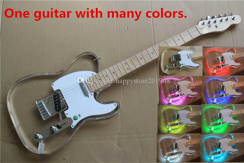 Diferentes cores LED Luz Plexiglass Acrílico Corpo da guitarra elétrica com verde pequeno interruptor, pode ser personalizado
