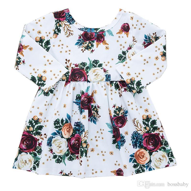 Baby Girl Dress Petite Princesse Robe Rose Bouquet Imprimer Robe manches longues Roundnecked Fleur Jupe plissée Beige 18