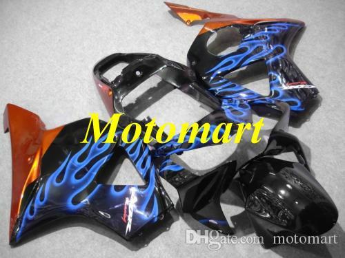 Motorcycle Fairing kit for HONDA CBR900RR 954 02 03 CBR 900RR 2002 2003 ABS Blue flames black Fairings set+gifts HE12
