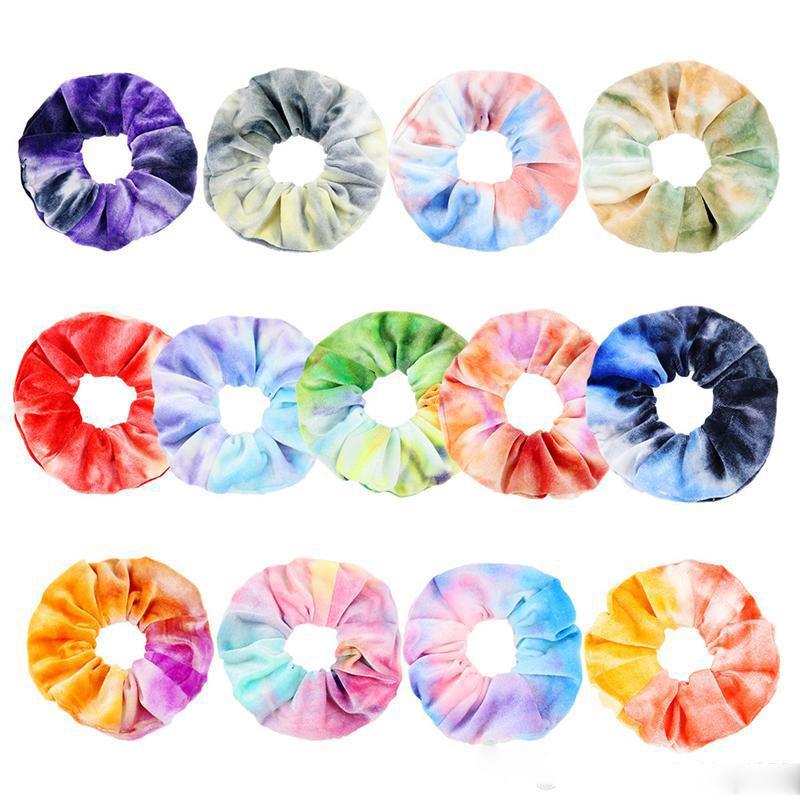 13 Renkler INS Kadife Saç Scrunchies Batik Saç Bandı Sıkı Gökkuşağı hairbands Kadınlar Döngü Tutucu Kızlar Saç Aksesuarları
