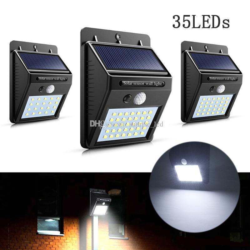 Wasserdicht 35LEDs Solar Light Solar Panels Strom PIR Bewegungs-Sensor-LED-Garten-Licht Außenwandleuchte