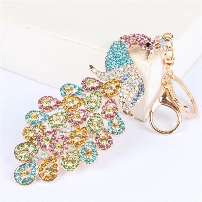 4 cores cheias strass KeyChain Luxo Pavão colorido Keychain de cristal Chaveiro Saco Pingentes Carro chave cadeia cadeia