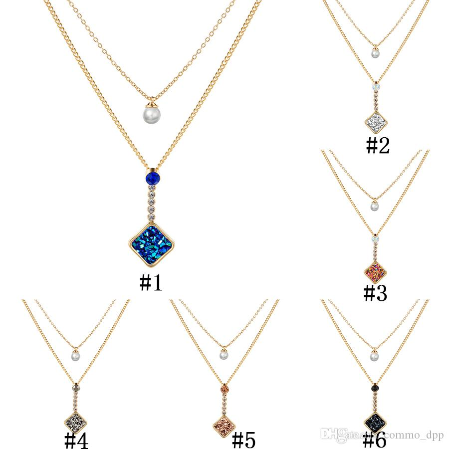 2019 Fashion Shiny Druzy Pendant layered necklaces square Natural stone Faux pearl charm Gold chains Choker For women Jewelry Gift
