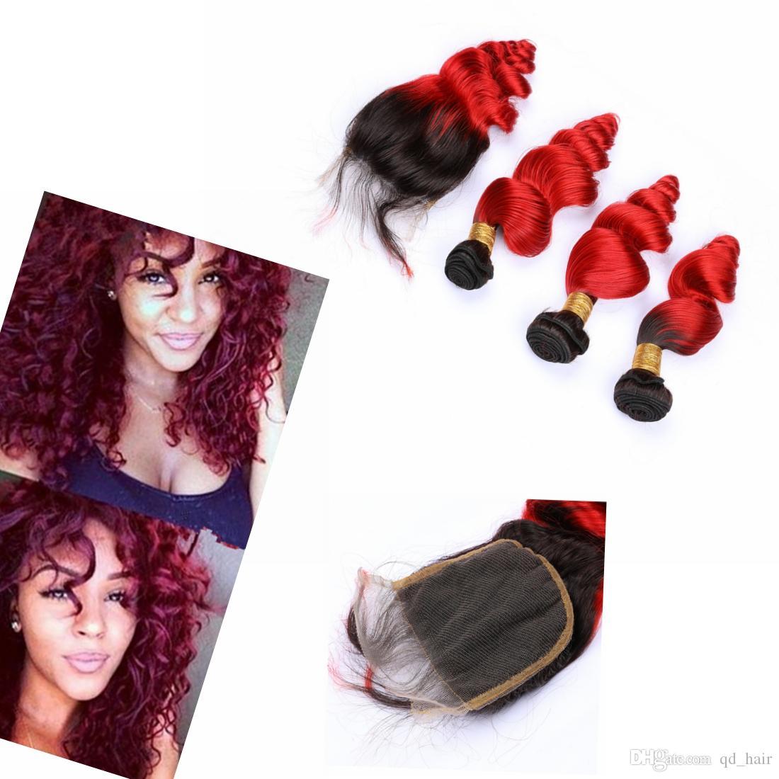 Kapatma ile Kapatma Hint Saç # 1B / # Kırmızı Gevşek Dalgalı Ombre Saç Dokuma ile Ombre Dalgalı Saç Paketler