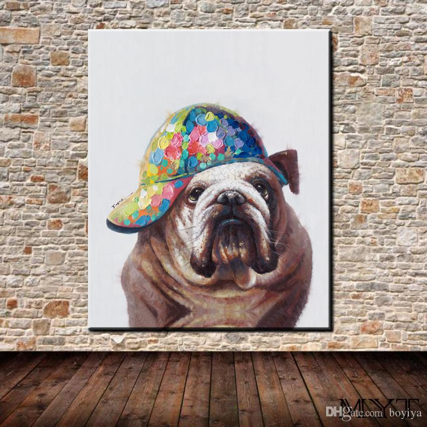 Cheaper pictures HD printed animal cute dog with hat Wall art Picture Home Decor for Living Room on Canvas Printing Oil Painting no framed