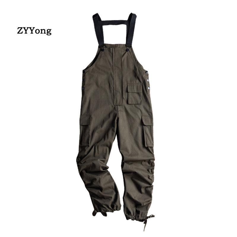 Ordu Yeşil Gevşek tulumları Erkekler Jumpsuit Önlüğü Işın Ayaklar Hip Hop Streetwear tulum Kargo Pantolon Katı Renk Gençlik Casual Pantolon