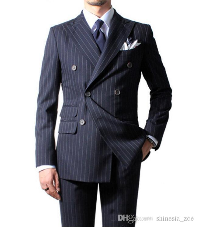 New Fashion Double Breasted Navy Blue Stripe Groom Tuxedos Groomsmen Peak Lapel Best Man Blazer Mens Wedding Suits (Jacket+Pants)