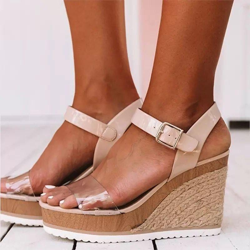 Summer Women High Heels Sandals Wedges Platform Ladies Espadrille Shoes Open Toe Transparent Roman Beach Sandals Zapatos Mujer