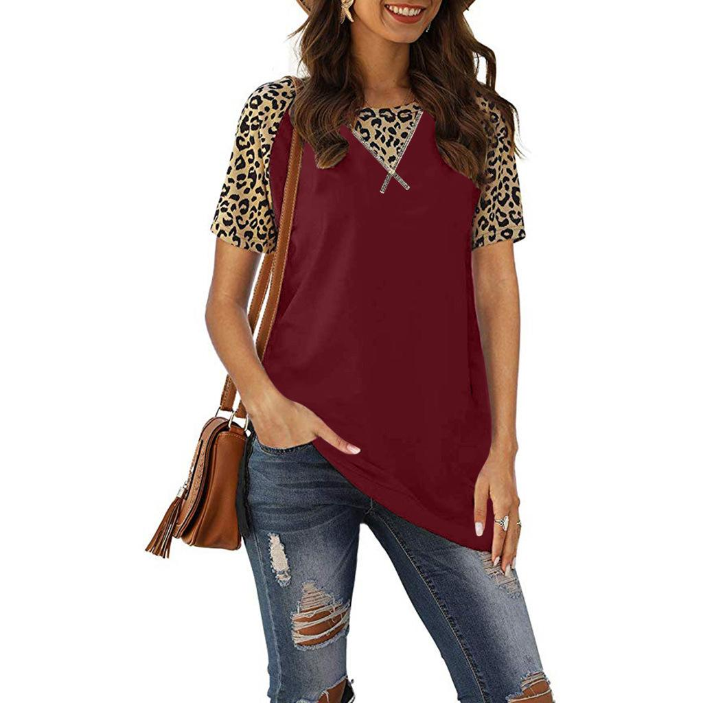 Womens Designer Short Sleeved Tshirt Slim Panelled Leopard Tees Fashion Solid Color Crew Neck Female Apparel