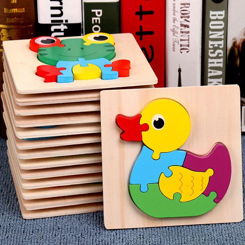 Jouet pour 2 3 ans enfants bébés garçons filles 3D Puzzles animaux en bois jouets d'apprentissage 15pcs animaux puzzle