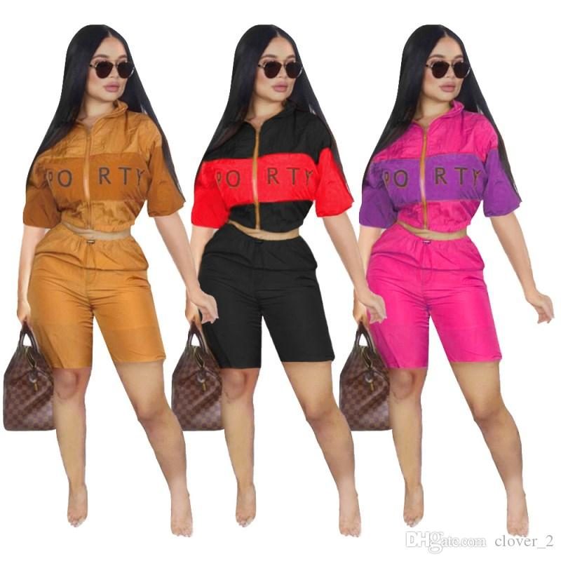 Womens clothing short sleeve outfits 2 piece set sexy fashion tracksuit jogging sport suit sweatshirt tights sport suit klw0694