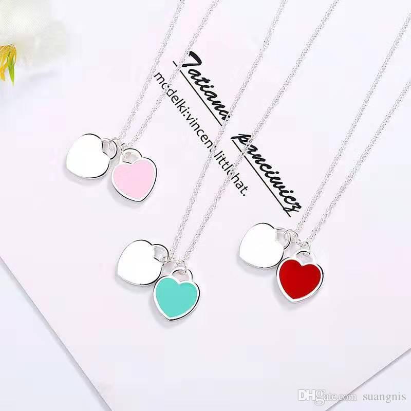 1pcs Drop Shipping 925 en argent plaqué en forme de coeur collier pendentif bijoux Belle femme Femme anniversaire Chirstmas cadeau 45CM