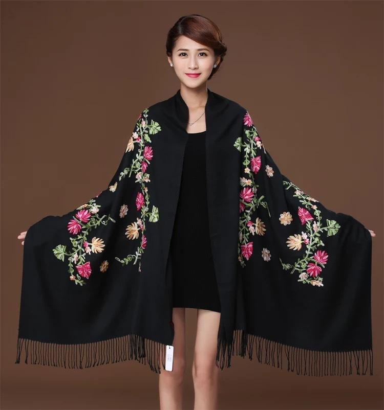 New embroidery Flowers scarf women Cashmere cotton viscose shawls soild plain embroider scarfs muslim tassels hijabs GP02