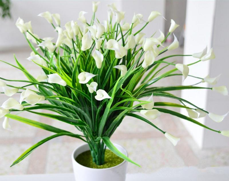 2019 New beautiful 25 heads/bouquet mini artificial calla with leaf silk fake lily Aquatic plants home room decoration flower