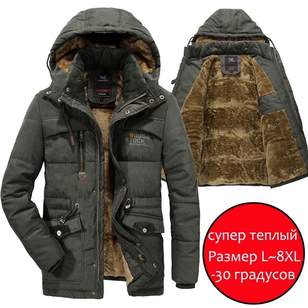 Men Winter Jacket 6XL 7XL 8XL Thick Warm Parka Fleece Fur Hooded Military Winter Coats Windbreaker Jackets Mens Dropshipping Y191214
