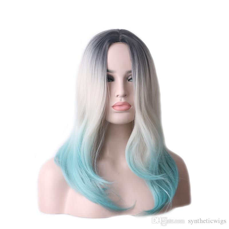 WoodFestival black grey blue ombre wig synthetic heat resistant fiber hair natural party wigs cosplay women