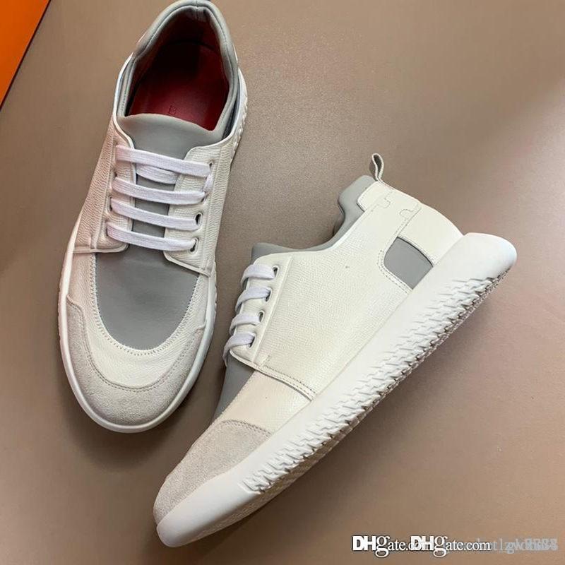 Новые Мужские кроссовки Vitesse Роскошные дизайнерские туфли Кроссовки из телячьей кожи H192503ZH95430 Мужские кроссовки Высочайшее качество Размер 39-45 с коробкой