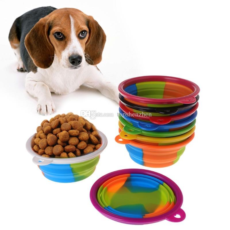 Camuflaje portátil Mascota Perro Silicona Cuencos Plegables 9 colores Consumo de comida Al aire libre Cuenco de agua Gatos del perro Alimentador Alimentación Suministro de agua