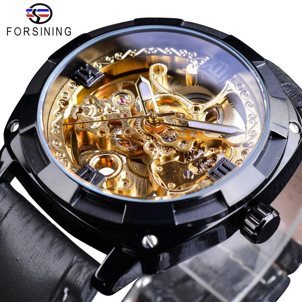 Forsining Kraliyet Siyah Altın Saat Şeffaf Kılıf Moda Siyah Hakiki Deri Erkek Band Işıltılı Eller Otomatik Saatler