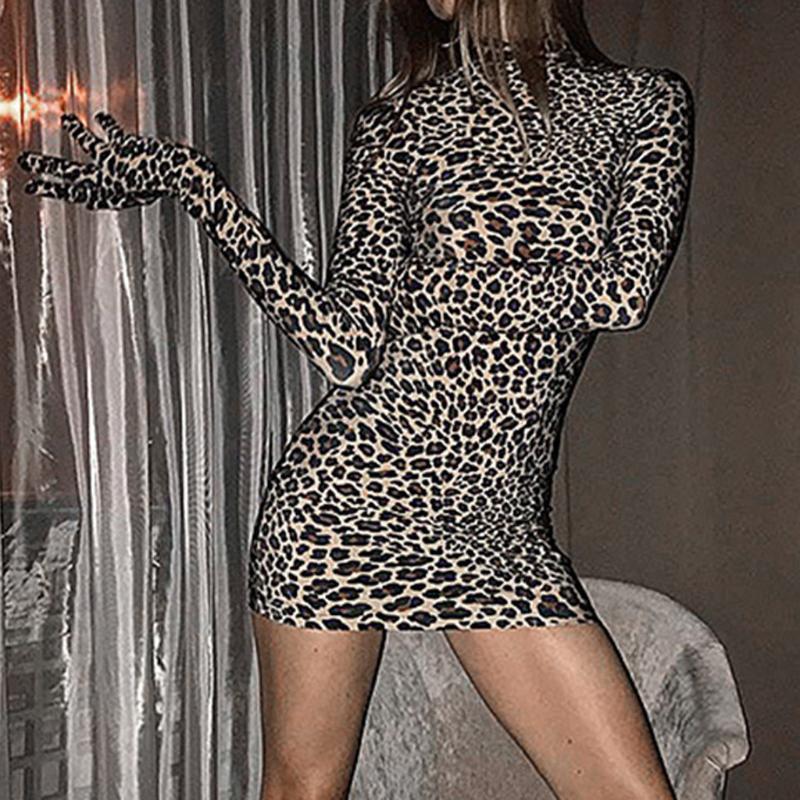 Guantes de mujeres atractivas del leopardo mini vestido de otoño invierno de manga larga de cuello alto vaina partido del mini vestido del club del tamaño de las señoras S-L