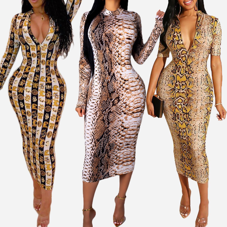 Neue Ankunfts-Frauen-Kleid Designer für den Sommer Luxus Snakeskin Druck-langen Hülsen-Kleid mit V-Ausschnitt, figurbetonten Kleid Sexy Club Style Hot Verkauf