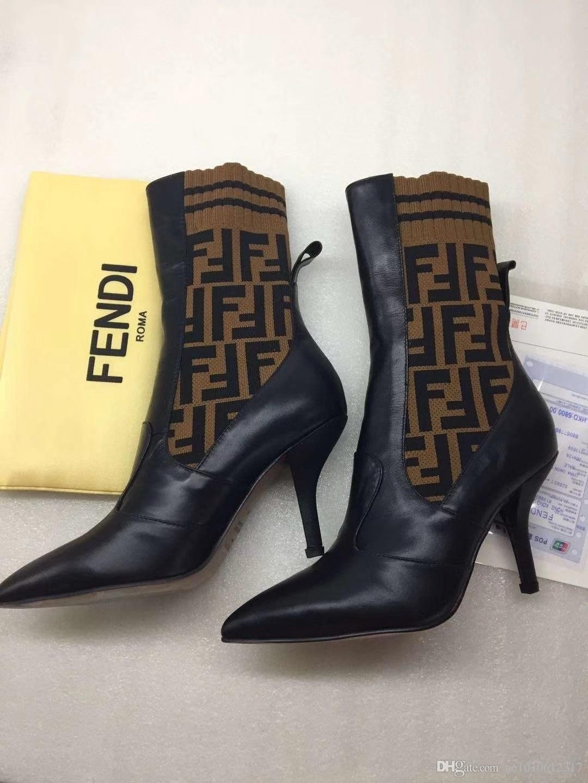 sonbahar ve kış için uygundur 2020 Moda lüks kadın Yarım Çizme Seksi örme çorap yarım bot Stiletto topuk marka Mizaç botları