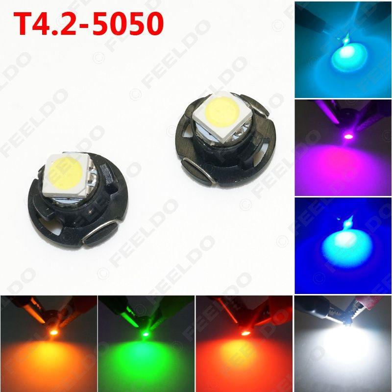 10pcs Авто T4.2 1SMD 5050 Чип LED Панель приборная панель Светодиодная лампа 7-Color # 4760