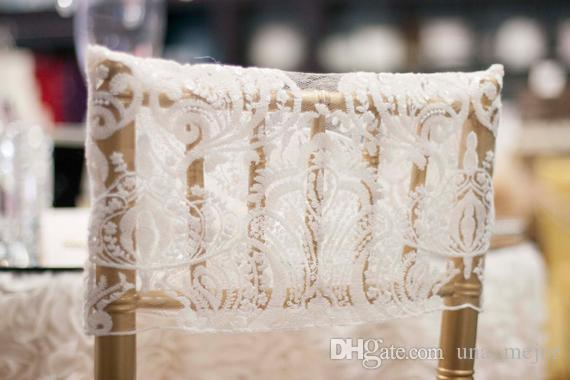 2019 Lace Custom Made Wedding Chair Covers Cheap Elegant Chair Sashes VintageWedding Decorations Wedding Accessories C02