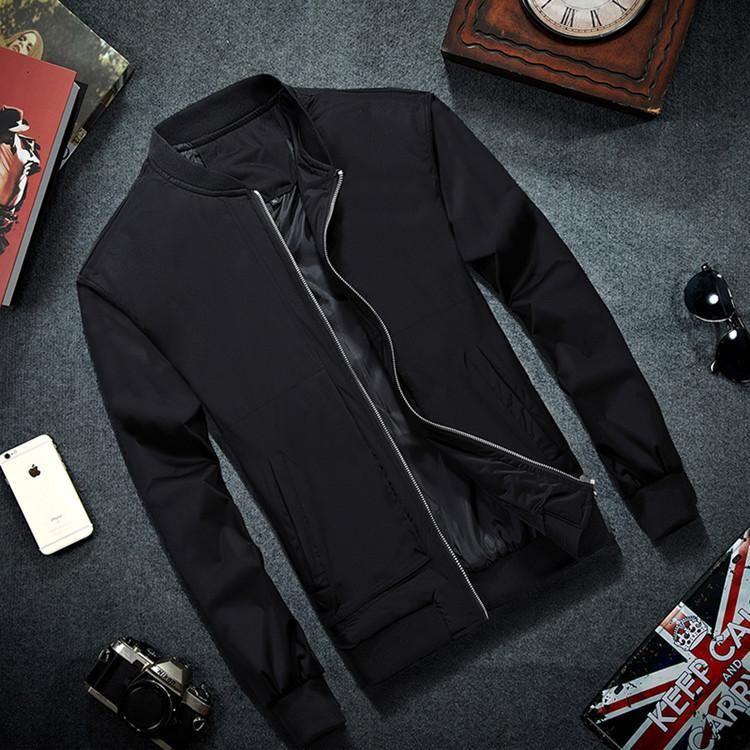 Marca para hombre chaqueta de bombardero Thin hombres chaquetas del béisbol de la capa de color sólido chaqueta informal Abrigo Hombre Ropa