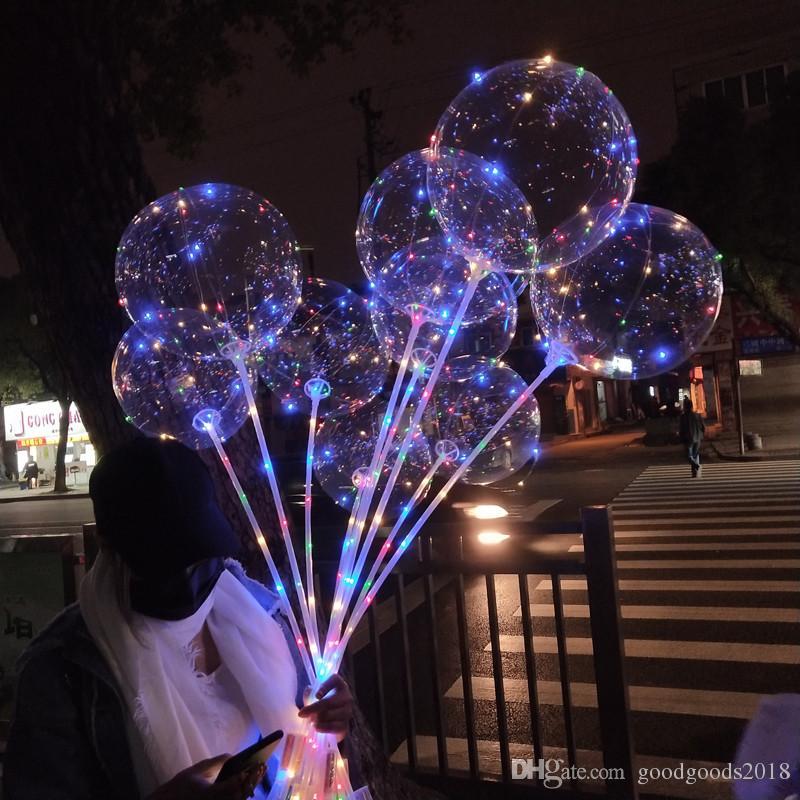 50 stücke Kein Falten Klarer Bobo Ballon mit 3M LED Streifen Draht Leuchtende LED Ballons Hochzeit Dekoration Geburtstag Party Spielzeug ST588