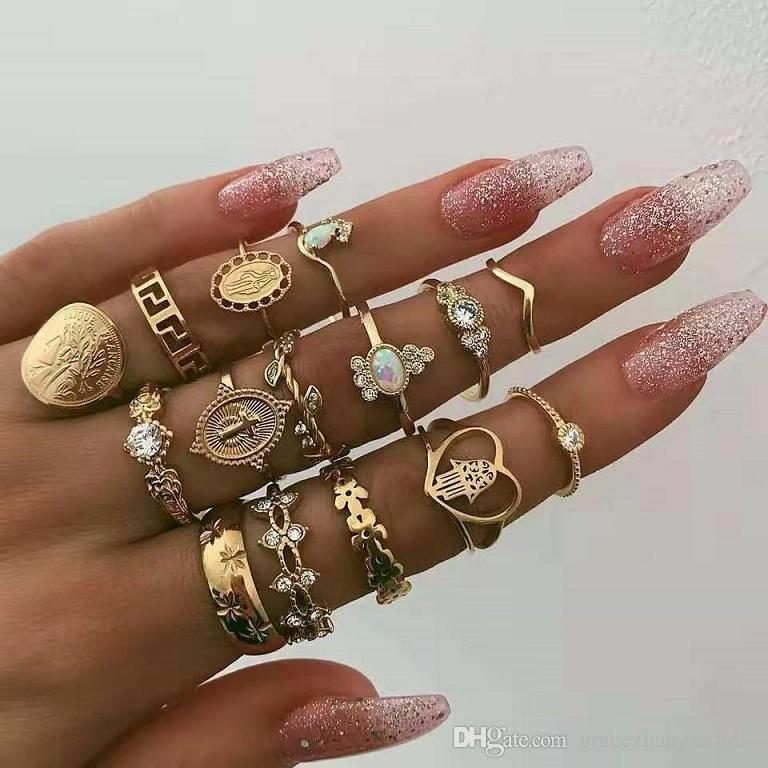 LADY FASHION RHINESTONE KNUCKLE JOINT FINGER 4 RINGS LEAF HEART SIMPLE STYLE