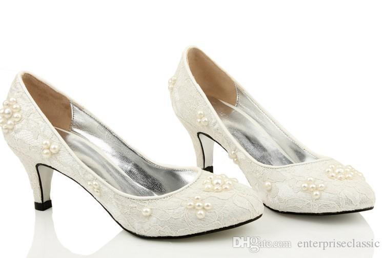 Moda marfil punta redonda boda Shes nupcial zapatos de vestir sirena zapatos de vestir blanco primavera zapatos de tacón bajo zapatos populares mujeres