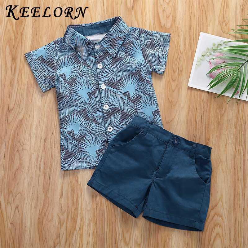 Keelorn 2pcs toddler verão Kid Meninos Roupa Nova Impresso T-shirt Top Sólidos Shorts Meninos Outfits Crianças Vestuário para Conjuntos