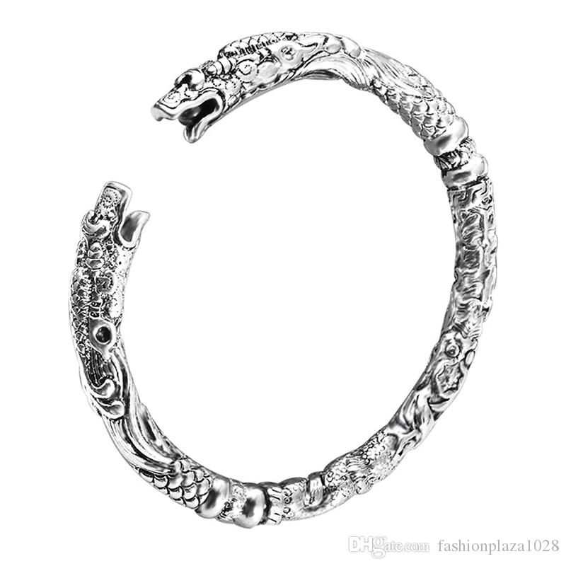925 Silver Charm Handmade Dragon Open Adjustable Bangles Antique Bracelets Bangles Women's Men Lovers 10 piece/lot