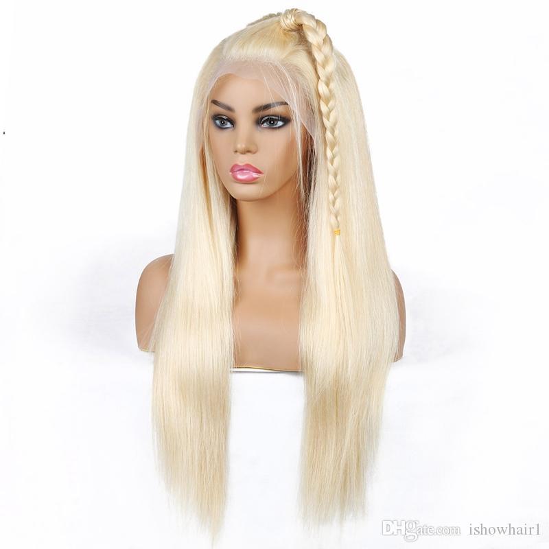 T الجزء لمة شقراء الشعر البرازيلي مستقيم الإنسان باروكات الشعر أشقر لون 613 الإنسان الشعر T الجبهة الرباط الباروكات بيرو الهندي