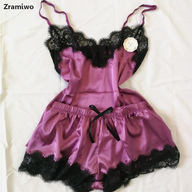 Женские пижамы Sexy атласная пижама Set Black Lace V-образным вырезом без рукавов Пижамы Cute Cami Топ и шорты лето Женская одежда