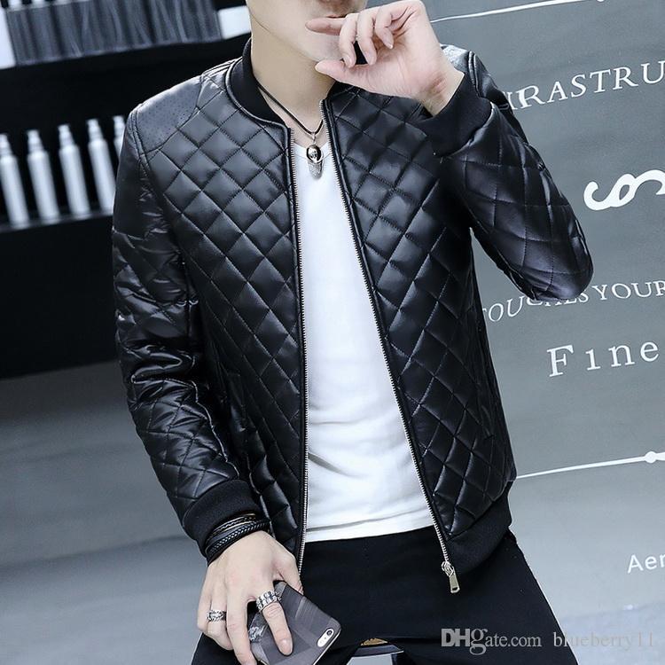 Hiver noir chaud veste en cuir épais hommes col montant veste en cuir PU pour hommes veste