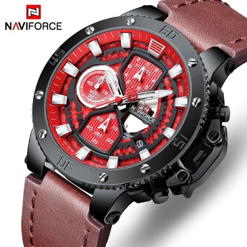 NAVIFORCE reloj superior de la marca hombre Relojes cronógrafo impermeable del deporte Reloj Hombre Relojes militar de lujo del cuarzo del reloj análogo de los hombres de