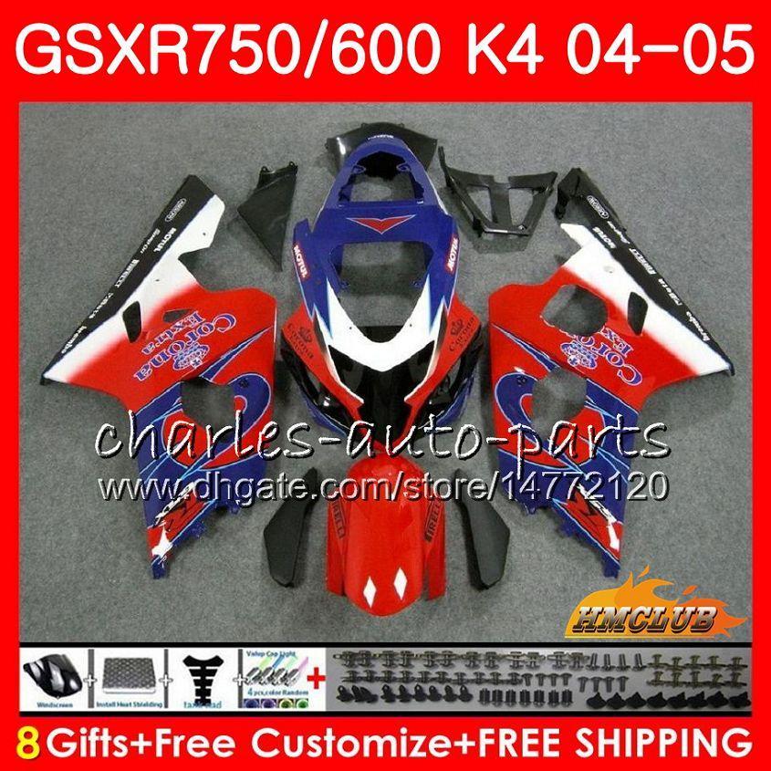 차체 스즈키 GSXR 750 GSX R750 GSXR600 GSXR600 04 05 7HC.71 GSXR750 GSXR 600 04 05 K4 빨간색 판매 뜨거운 GSXR750 2004 2005 페어링 키트
