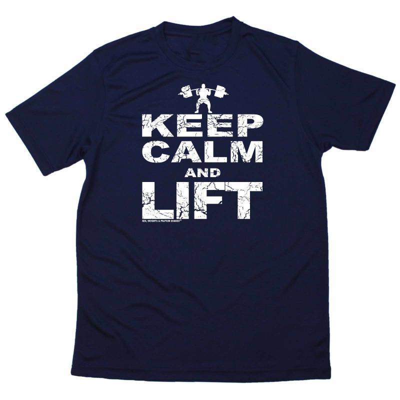 Центр Бодибилдинг T-Shirt Mens Смешной Спорт Performance Keep Calm Lift Plus Размер одежды Tee Shirt
