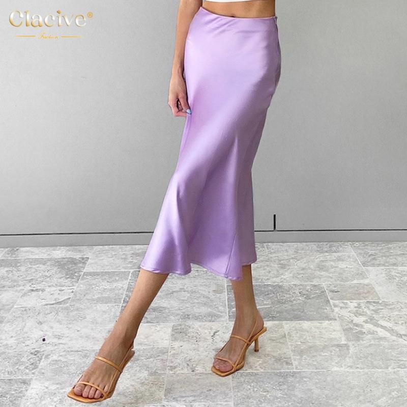 Clacive Фиолетовый Длинные летние юбки высокой талией Bodycon A-Line атласная Юбка Повседневная Юп Ropa Mujer
