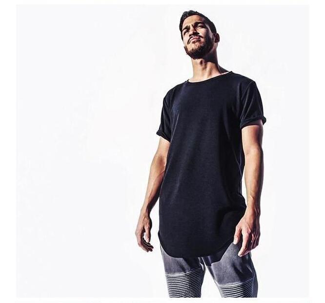 Camicie Tendenze Uomo T eccellente di alta qualità a corpetto a maniche lunghe t-shirt Hip Hop Arc Hem Con zip Curva Hem laterale SUPERA IL T