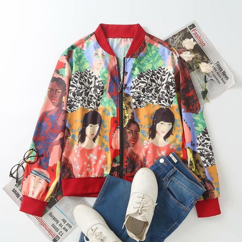 imagem gola beleza 2020 Mulheres Vintage impressão senhoras jaqueta de vôo ocasional de manga longa retro Outwear Brasão topos chiques CT527