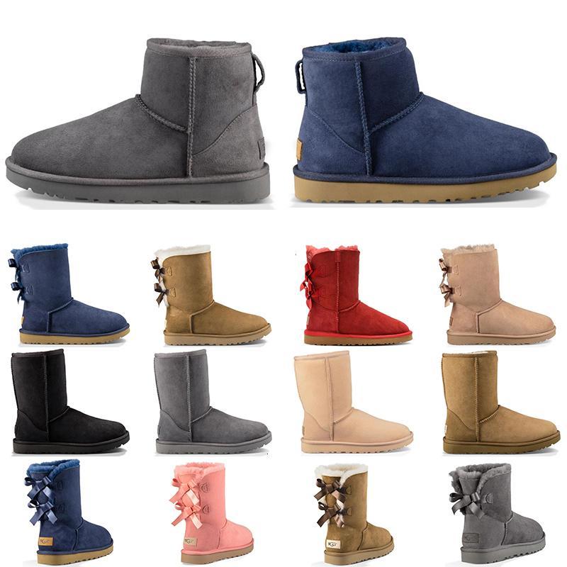 Yeni Geliş Lüks Tasarımcı Avustralya Kadınlar Kış Kar Boots Klasik Bilek Diz çök Ayakkabı Kısa Bow Kürk Boot Siyah Kestane Moda Boyut 36-41