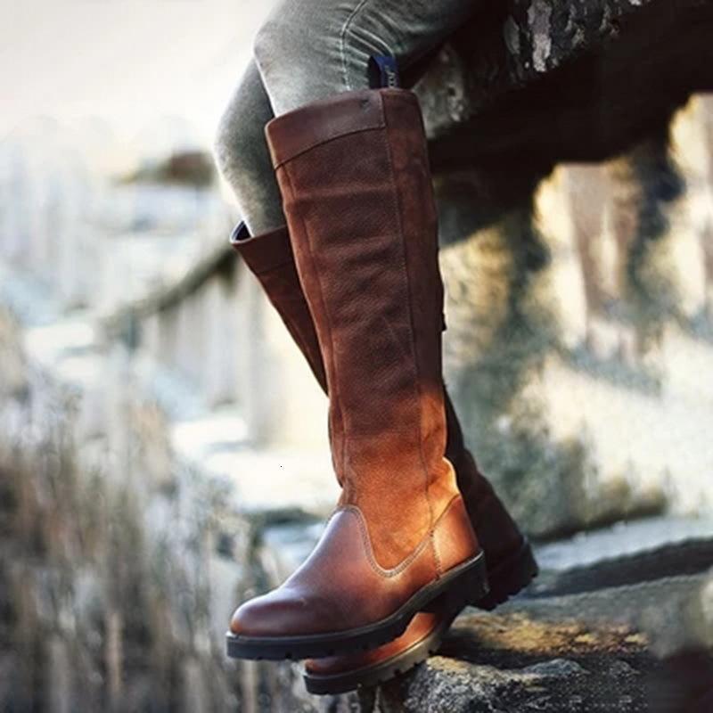 حار بيع أزياء المرأة الركبة أحذية عالية السيدات الجلد المدبوغ جلدية شقة غير زلة الخريف الشتاء أحذية ركوب الخيل عارضة أحذية روما نمط