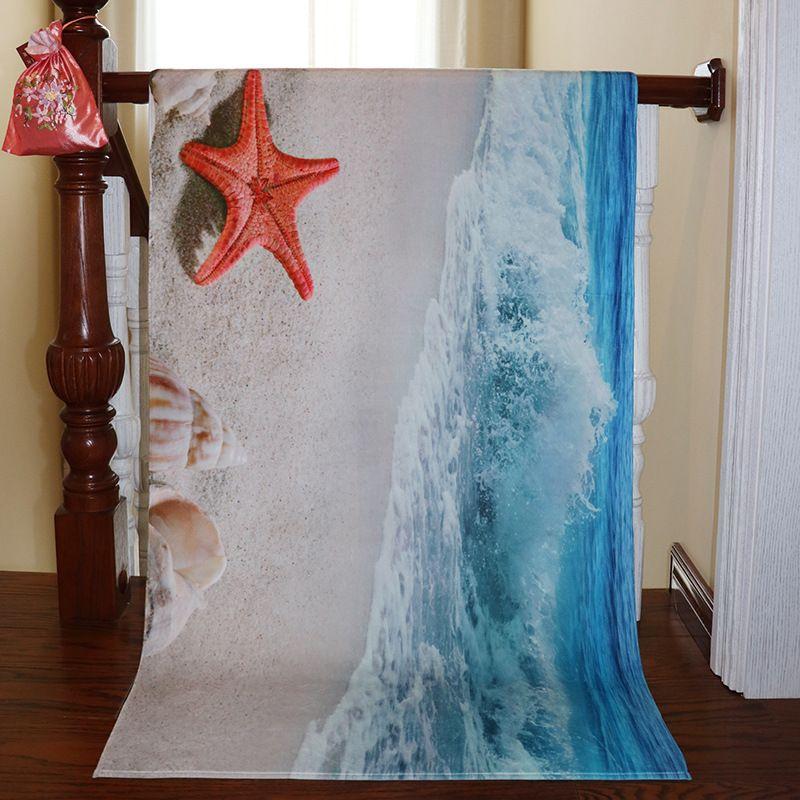 Seaside Beach Printed Beach Towel Bath Towel Polyester Cotton Towel Household Soft Absorbed Water Baby Blanket