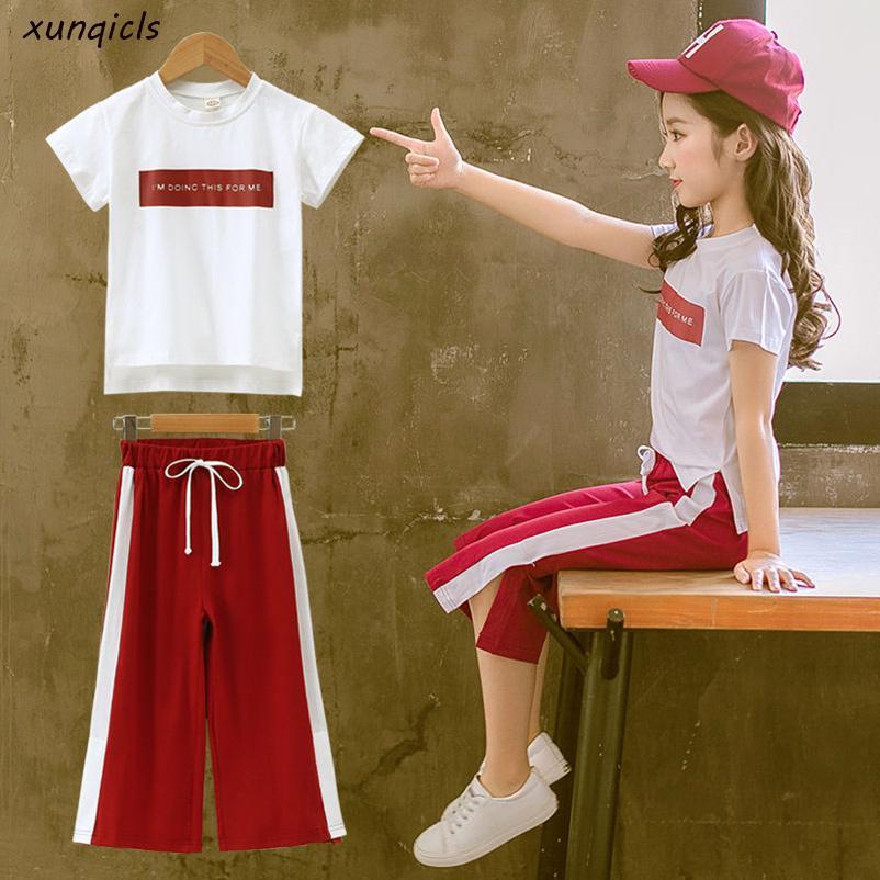 Новые девушки Одежда наборы летом с коротким рукавом Футболка + брюки 2 Штук Детская Верхняя одежда Детская одежда Костюмы Q190523