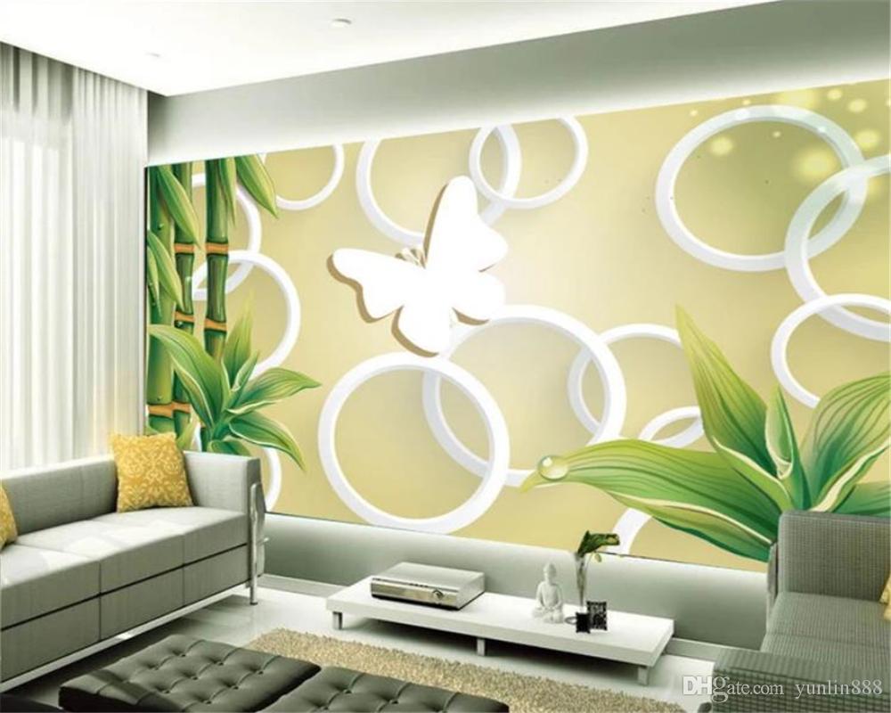Wallpaper Silk HD Decoração Wallpaper White Circle Green Bamboo personalizado Interior Exquisite Home Decor 3d