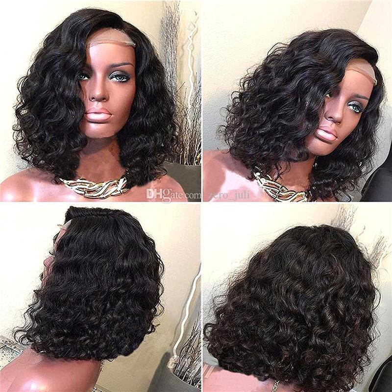 Parrucche corte del merletto del merletto parrucche piene del merletto dei capelli brasiliani ondulati capelli brasiliani nodi non trattati capelli umani vergini 100% vergini del bambino