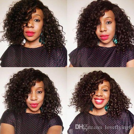 alta calidad brasileña del pelo este peinado afroamericano rizado corto corte bob pelucas rizadas peluca rizada Cabello humano Simulación